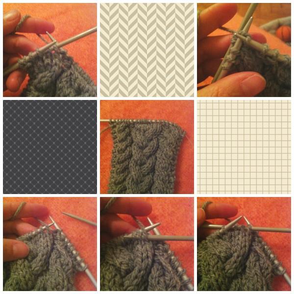 Zopfmuster Stirnband grau_Collage 2